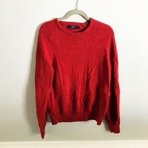 J. Crew Factory Men's Red 100% Lambswool Sweater